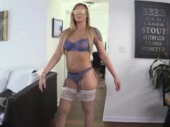 Amateur blonde Lexi Davis sucked dudes cock in the rain