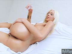 Very slim blond shemale Britney Colucci fucks a naughty dude