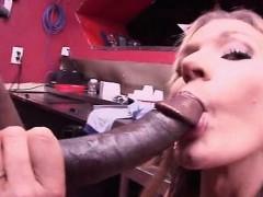 Dirty blonde eats and fucks monster black dick