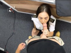 Pretty latina stewardess pawns her pussy and gets fucked