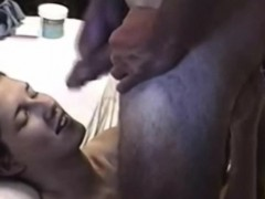 Hot gal takes a huge load of cum on her face