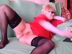 Fat And Horny Granny Masturbates