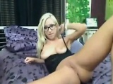 Flexible Blonde With Glasses Teasing