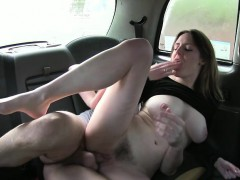 Bitch gets to suck a big hard dick in a public taxi