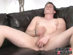 Powerful brunette gay Bruce masturbating his thick penis on