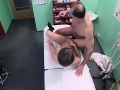 Short haired brunette Sasha Zima seduces the doctor