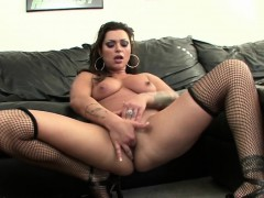 Hot brunette plays with pussy