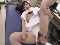 Asian nurse gets her cunny toyed and sucks his dick for a l