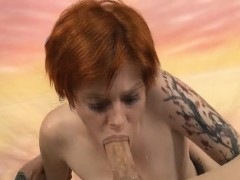 Redheaded Ava Little Spitting Up During Rough Face Fucking