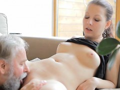 Curious Young Babe Gives A Blowjob To An Old Crazy Guy
