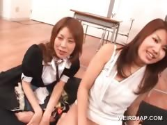 Asian sex class with teen cuties using toys to fuck