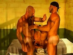 Hunk prisoners rough and wild threesome in prison cell