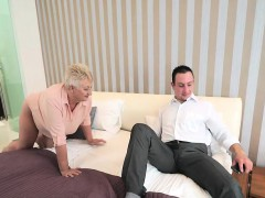Kinky granny Astrid seduces horny Rob and fucks him wildly