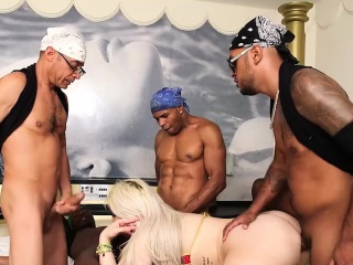 Big ass blonde shemale gangbanged and barebacked hard