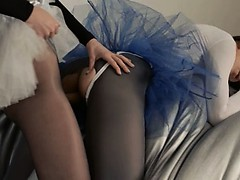 Young coed gets strap on fucked