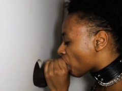 Black Amateur Blowjob And Taking Facial At A Glory Hole