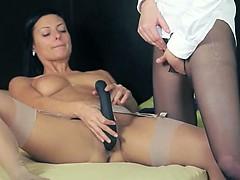 Luxury babes in stocking enjoying strap