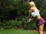 hot perky blonde naked golf