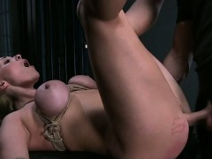 Huge tits blonde babe in bdsm rough sex