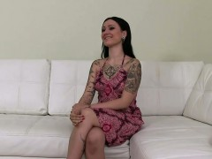 Tattooed and pierced amateur babe on casting