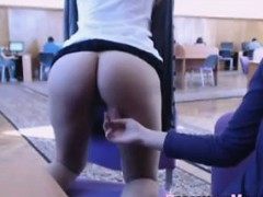 Girl flashes Ass in library!