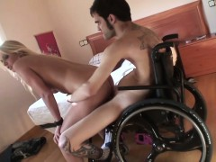 ot and busty blonde fucks a disabled guy in a wheelchair