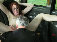 Pale redhead banged in taxi