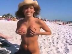 Hot Chick Getting Naked At The Beach
