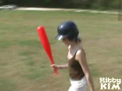 Sweety teen babe Kitty Kim playing baseball and getting