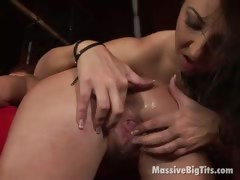 Two massive boobed lesbians fingering their yummy slits