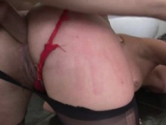 Hottie gets penis in all of her holes before camera