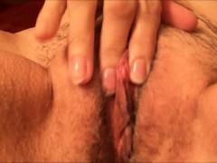 Horny grandma rubbing her hairy pussy