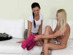 Lesbo foreplay at casting