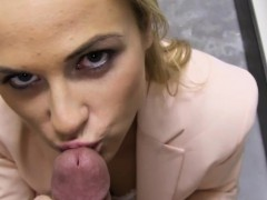 Perky tits amateur blonde babe banged in storage room