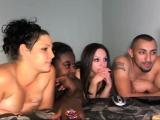 Hot Interacial Foursome On Webcam