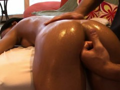Busty darling gets a lusty oil massage from hunk