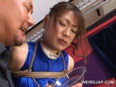 Asian pregnant sex slave gets nipples milked and teased