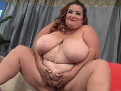 Big and bulky BBW shows her big boobs and fleshy pussy She