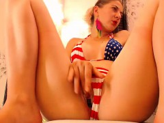 Teen in panties fingering her very wet pussy