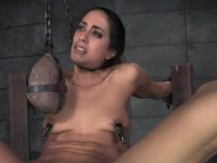 Restrained slut bigclit whipped by maledom