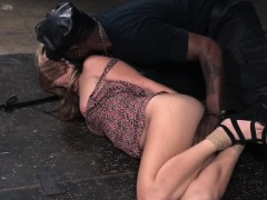 Blonde bdsm suffocated by interracial maledom