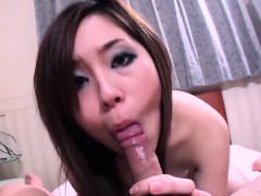 Nan Oshikiri works cock in both her tight Asian holes