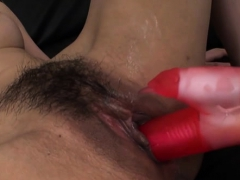 Hairy cunt asian rides big cock and fucks doggy position