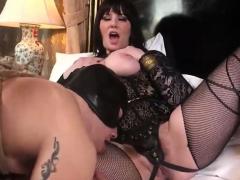 Busty BDSM bitch torturing her slave