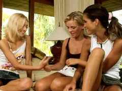 Relax with three naughty lesbo babes spending time together