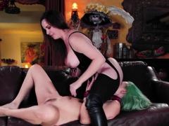 Ballgagged Jelena Jensen whipped by dominatrix Dana DeArmond