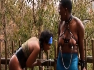 Hot ebony beauty has some relentlessly dirty fun outdoors