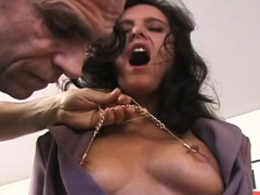 Muffled Oriental Cutie Gets Her Tits Pinched S&m Style