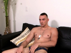 Solo Muscly Army Hunk Tugging His Dick
