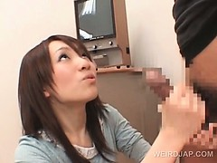 Asian lady doctor teaching hot babe to give handjob